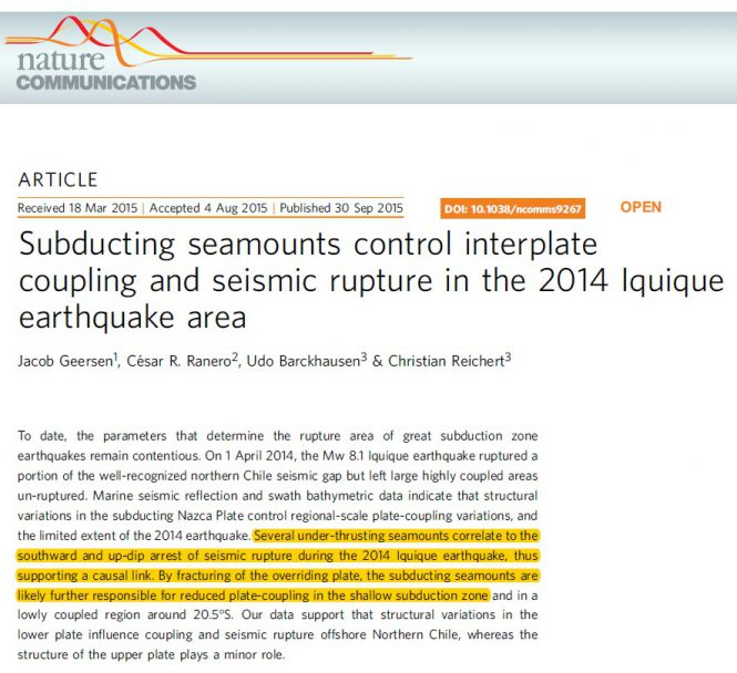 screenshot of a scientific paper highlighting how mountains prevent earthquakes