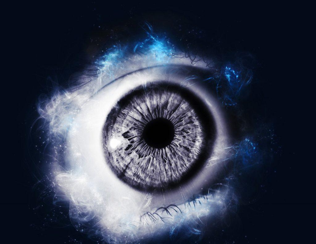 greyscale eye with a black background