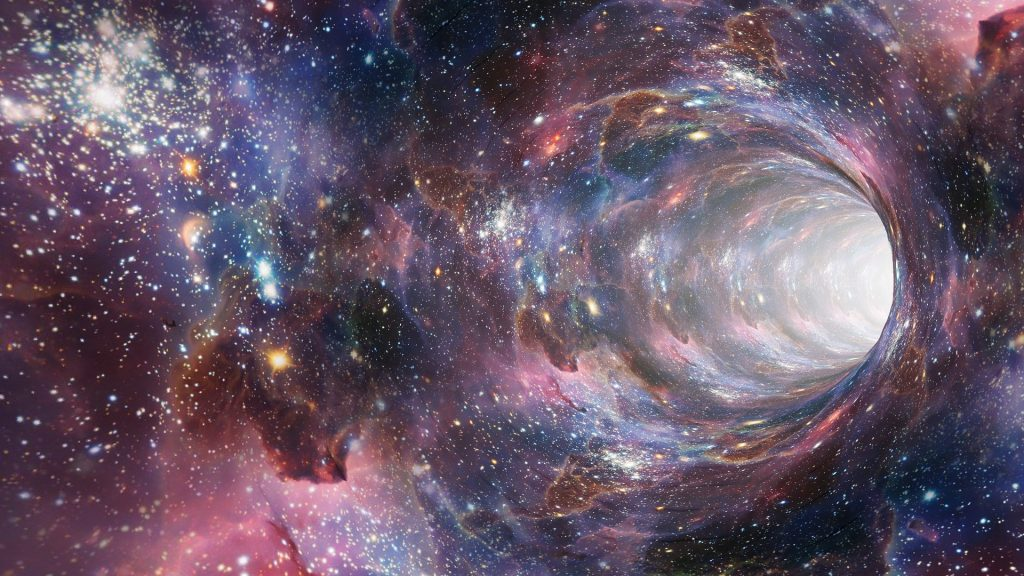 wormhole on a background of stars and galaxies